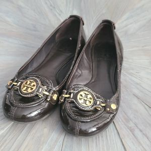 Tory Burch brown patent leather flats